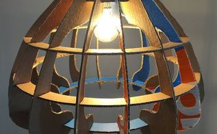 boxcrown upcycled cardboard lampshade, crafts, lighting, repurposing upcycling, BoxCrown cardboard lampshade front view
