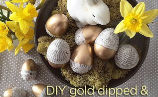 gold dipped newspaper eggs, crafts, easter decorations, seasonal holiday decor