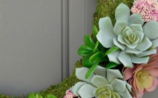 succulent moss spring wreath, crafts, flowers, gardening, succulents, wreaths