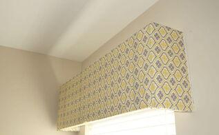 styrofoam cornice board out of tv packaging 30dayflip, reupholster, window treatments, windows