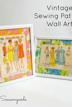 vintage sewing pattern wall art, reupholster, wall decor