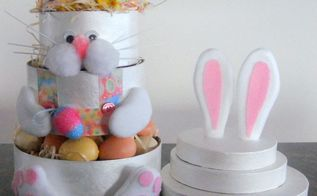 stacked easter bunny boxes, crafts, decoupage, easter decorations, how to, seasonal holiday decor