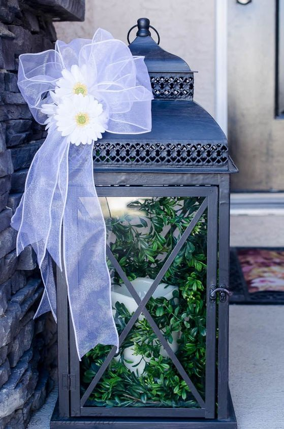 decorate an outdoor lantern for spring with these easy