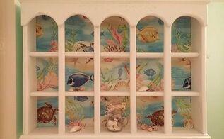 thrift curio shelf makeover, chalk paint, painted furniture, shelving ideas, New aquarium now hangs over guest toilet