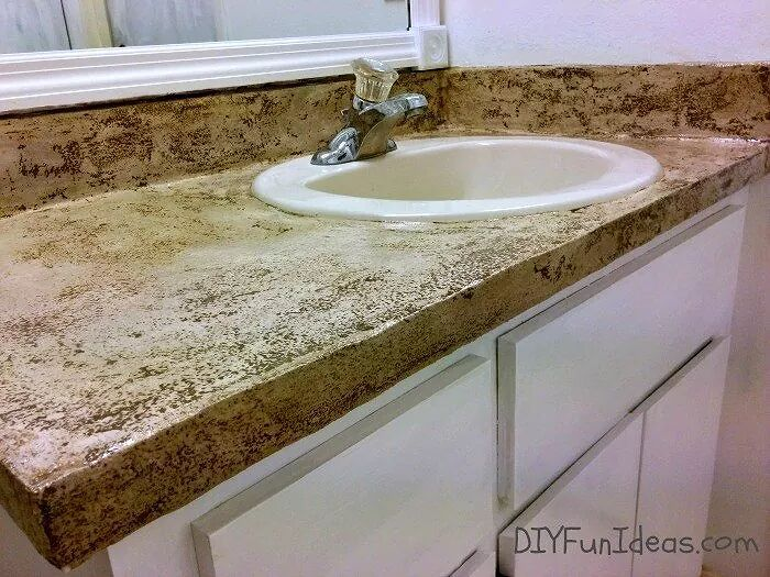 Give the top a patchy concrete look  Dress up a standard bathroom vanity  11 Low Cost Ways to Replace  or Redo  a Hideous Bathroom Vanity  . Cost Of Installing Bathroom Vanity. Home Design Ideas