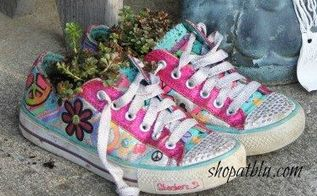 succulent decor we are ready for spring, container gardening, flowers, gardening, repurposing upcycling, succulents, Use colorful shoes of all sizes