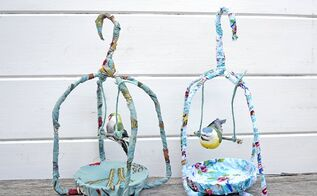 gorgeous spring fabric birdcages, crafts
