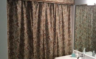 cornice and shower curtain, bathroom ideas, small bathroom ideas, reupholster, Finished product