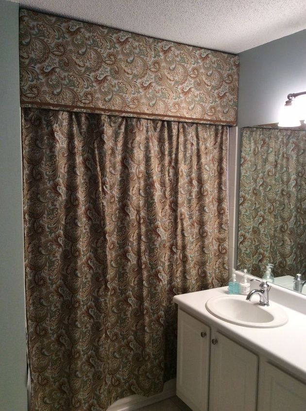 Cornice And Shower Curtain Bathroom Ideas Small Bathroom Ideas Reupholster Finished Product