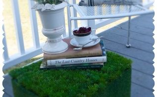 diy my spring blog hop faux grass ottoman, outdoor furniture, outdoor living, painted furniture