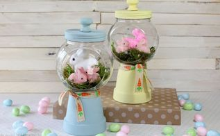 spring bunnies diy gumball machine craft, crafts, easter decorations, seasonal holiday decor