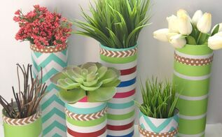 glass vase and paper wrapping craft, container gardening, crafts, flowers, gardening