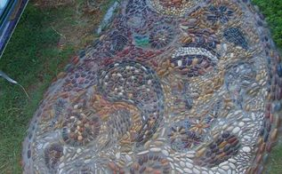 paislies inside of a paisley pebble mosaic, concrete masonry, landscape