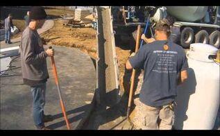 pouring concrete for outdoor living space, concrete masonry, outdoor living