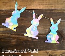 printable watercolor pastel bunny banner, crafts, easter decorations, seasonal holiday decor