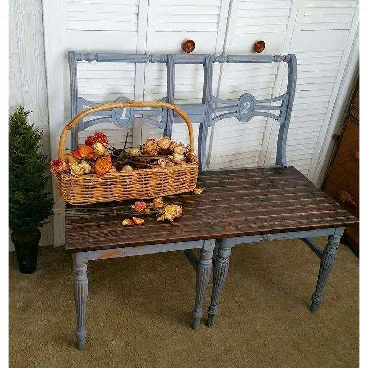 Repurposed And Upcycled Farmhouse Style Diy Projects: Upcycled Chair Benches