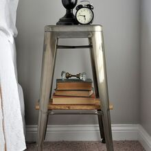 industrial stool nightstands, bedroom ideas, diy, painted furniture, woodworking projects