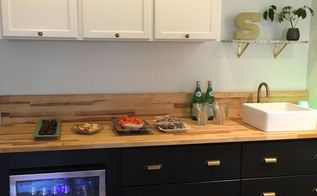ikea and home depot hack a modern wet bar, kitchen design, painted furniture, repurposing upcycling, In use for entertaining