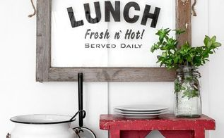 having lunch with an old window with an instant sign, crafts, kitchen design, repurposing upcycling, wall decor, windows