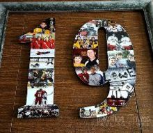 preserving memories diy photo collage on wood numbers, crafts, decoupage