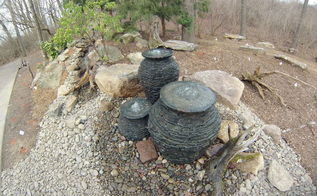 multiple bubbling urn fountain feature with pondless waterfall, landscape, ponds water features