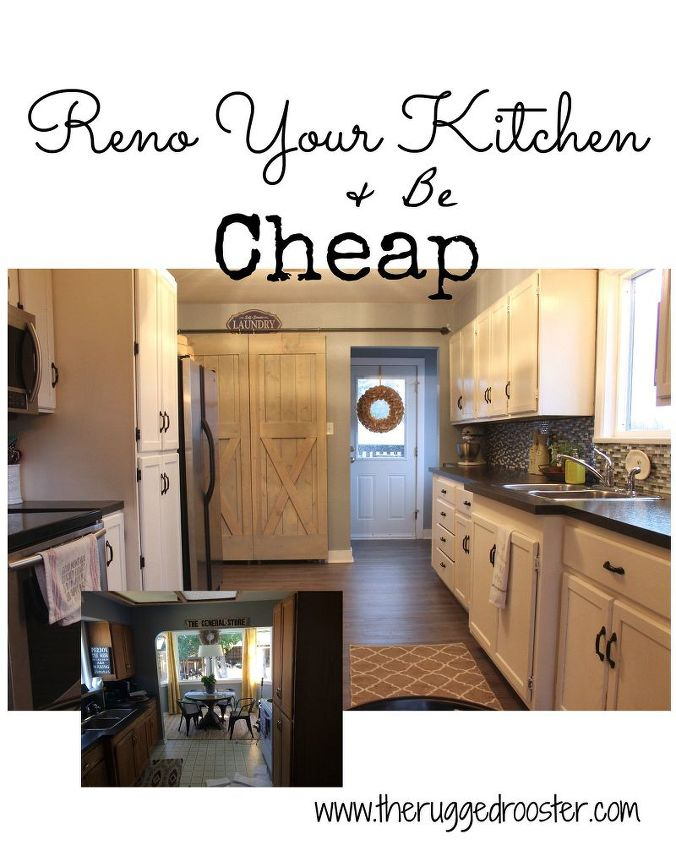 Farmhouse kitchen reno for cheap hometalk for Kitchen cabinets reno