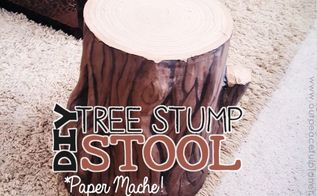 paper mache tree stump stool, crafts, painted furniture