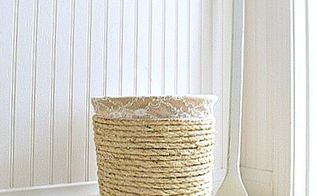 thrifty makeover nautical trashcan with rope, bathroom ideas, crafts, repurposing upcycling