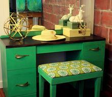 custom green art deco vanity and bench makeover, painted furniture