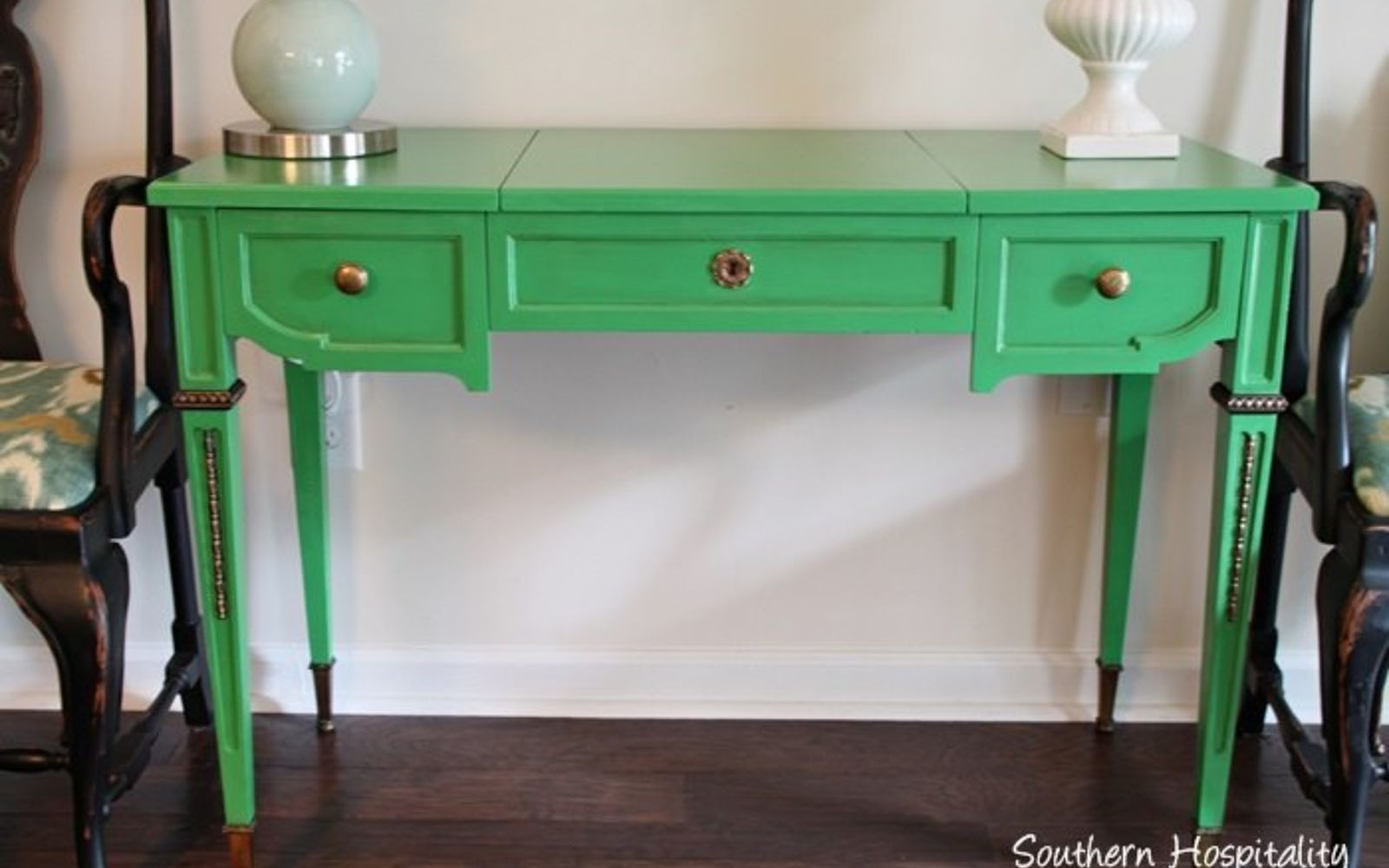 green colored furniture. Make An Old Desk Vibrant Green And Gold Colored Furniture