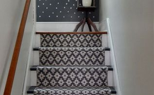 farmhouse stairway makeover, foyer, stairs, reupholster, wall decor
