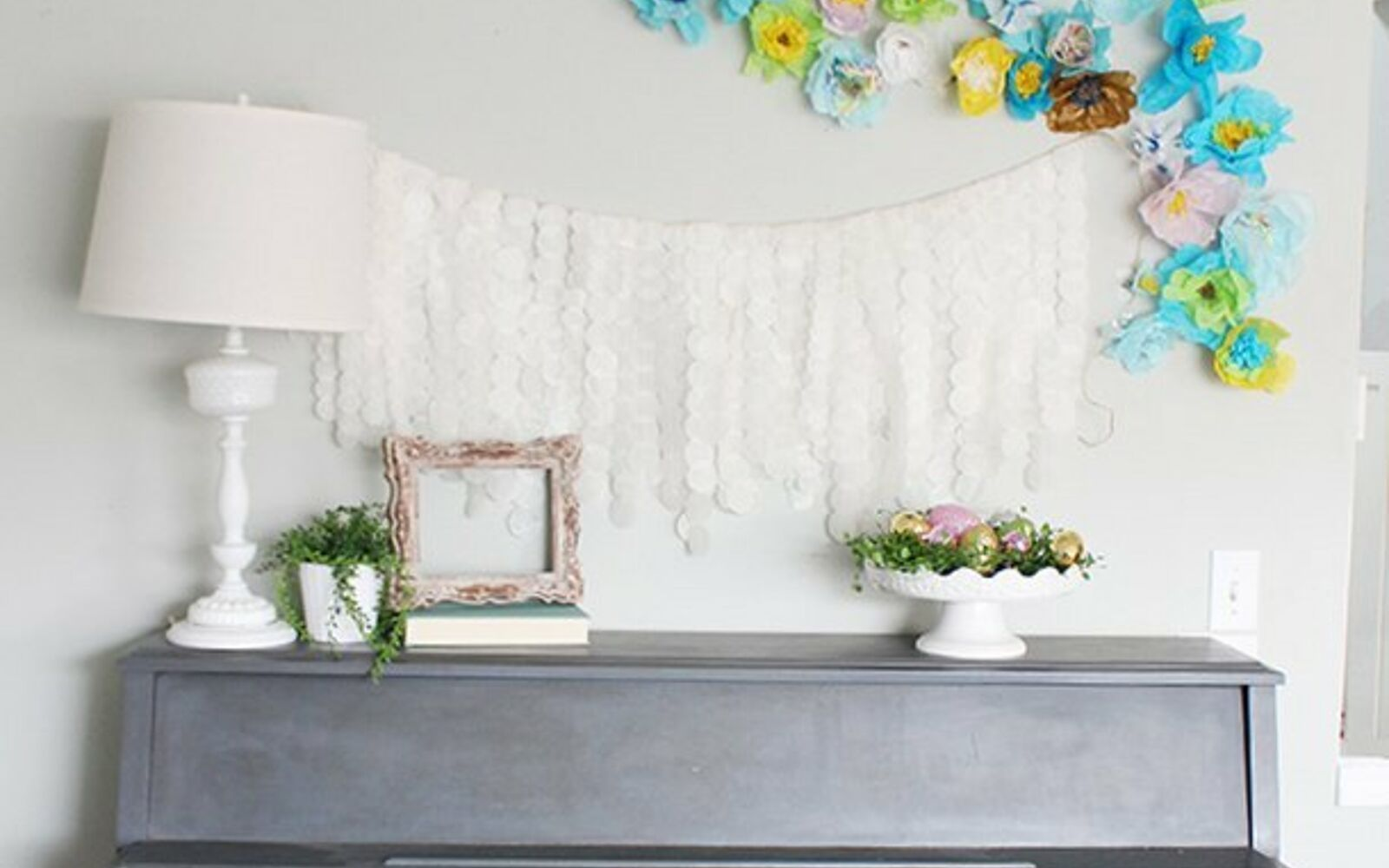s these are the hottest diy spring trends of 2016, crafts, seasonal holiday decor, Set a bright wall collage instead of a mantel