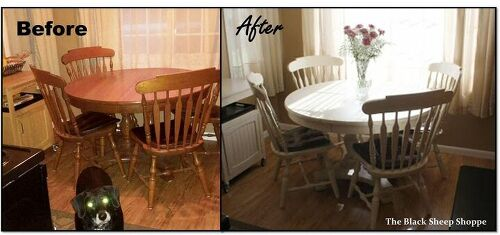 My sister s table and chairs repainted in Old Ochre  Annie Sloan Chalk Paint  Oak dining table and chairs  to paint or not    Hometalk. Painting Dining Table Black. Home Design Ideas