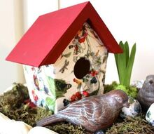 napkin decoupage birdhouses, chalk paint, crafts, decoupage