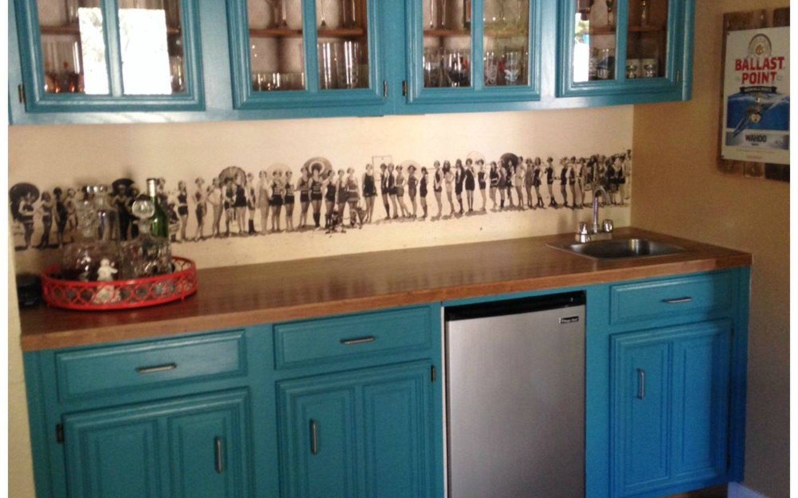 13 incredible kitchen backsplash ideas that aren t tile hometalk paste on a 1920 s mural