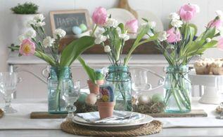 rustic spring tablescape, home decor, seasonal holiday decor