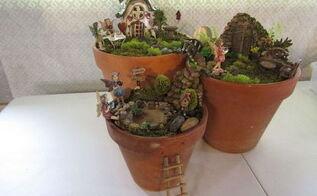 three tier fairy garden, crafts, gardening