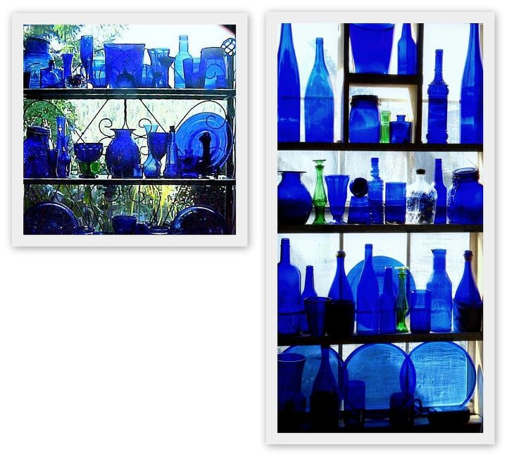 Cobalt Glass In Kitchen Window Project Home Decor