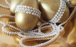 golden easter eggs with pearls, crafts, easter decorations, seasonal holiday decor