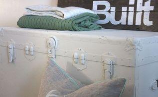 rustic vintage trunk, painted furniture, storage ideas