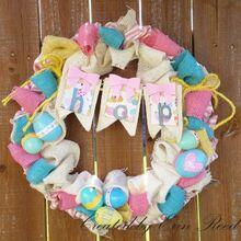 easter burlap wreath, crafts, easter decorations, seasonal holiday decor, wreaths