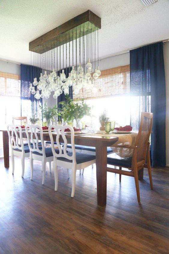 Diy multi bulb chandelier hometalk for Dining room diy ideas