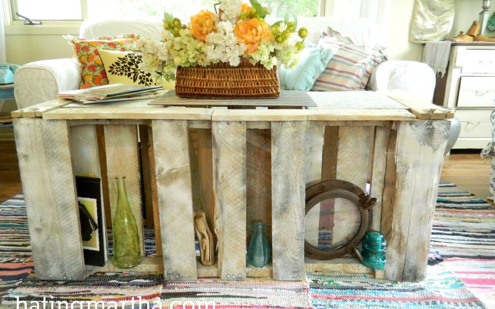 Painted Pallet Coffee Table 15 pallet coffee tables that look way too good to be diy | hometalk