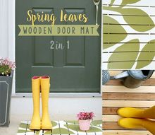 spring leaves wooden door mat, crafts, outdoor living, seasonal holiday decor, woodworking projects