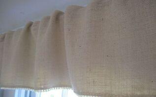 easy beachy burlap valances, reupholster, window treatments, windows