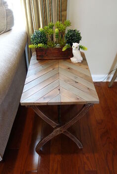 folding luggage rack to rustic herringbone side table 30dayflip, diy, how to, painted furniture, woodworking projects