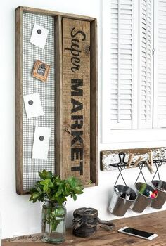 groceries remembered thanks to an antique soil sifter, crafts, organizing, repurposing upcycling, wall decor