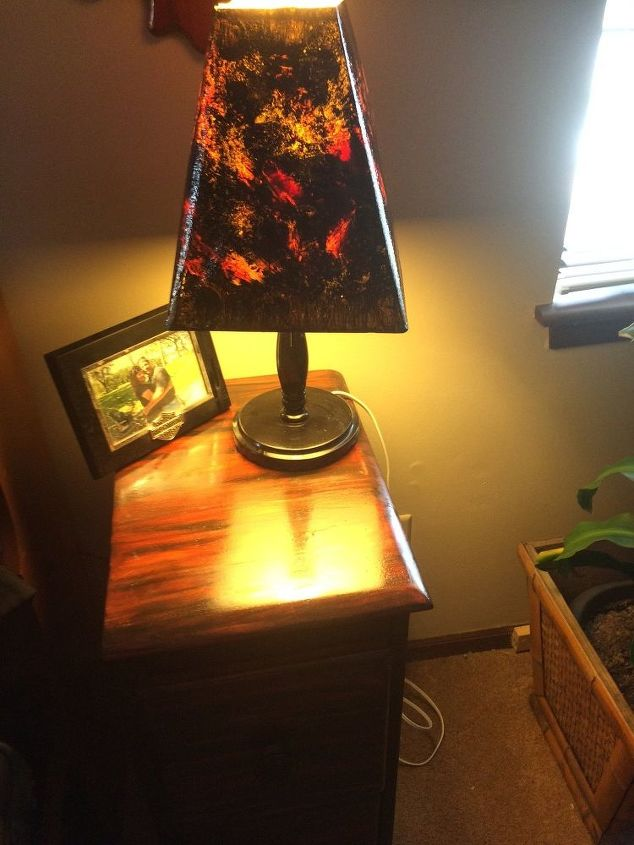 re do of old lamp shades so they go with my night stand. Black Bedroom Furniture Sets. Home Design Ideas