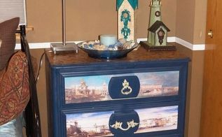 check out my lil blue chest, decoupage, painted furniture