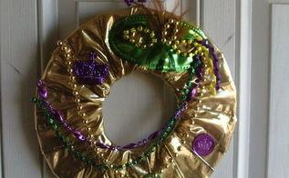 mardi gras wreath, crafts, seasonal holiday decor, wreaths